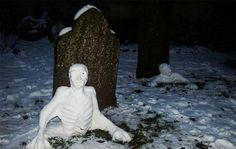 Graveyard snow skeletons