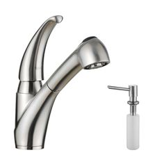 Single Handle Kitchen Faucet With Sprayer And Soap Dispenser