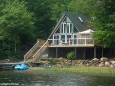 A-Frame Cottage Ontario Waterfront Cottage, Waterfront Homes, Cabins And Cottages, Beach Cottages, Seaside Holidays, Lake Life, Vacation Rental Sites, House Plans, Georgian