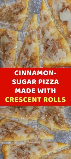 Cinnamon-Sugar pizza made with crescent rolls Dessert Dips, Dessert Parfait, Dessert Pizza, Cookie Desserts, Dessert Recipes, Breakfast Pizza Recipe With Crescent Rolls, Crescent Roll Pizza, Crescent Roll Recipes, Crescent Cinnamon Rolls