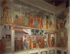 Masaccio, Brancacci -- Chapel of Santa Maria della Carmine in Florence, left view 1426-28  Fresco