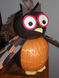 My Owl Pumpkin for my daughters class! Hated to see him go!