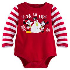 Mickey and Minnie Mouse Holiday Long Sleeve Bodysuit for Baby