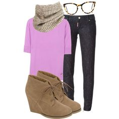 A fashion look from March 2015 featuring pink sweater, blue skinny jeans and wedge heel boots. Browse and shop related looks.