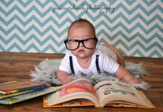 Bookworm. 3 month photos. Indoor photography. In studio photography. Baby Boy.