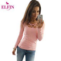 2017 Herfst T-shirt Lange Mouw Vrouwen Slim Fit Mode Dames Top Uitgehold Tops Tee Effen LJ4515R
