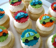 Mini cupcakes with these on top but also with trucks, wheels, street lights, etc