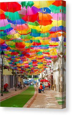 Floating Umbrellas Canvas Print / Canvas Art by Alexandre Martins Balloon Garland, Balloons, Balloon Arch, Alexandre Martins, Umbrella Art, Umbrella Street, Pool Party Decorations, Balloon Pump, Interactive Art