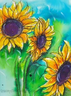 Tracey Fletcher King: Painting Sunflowers ...