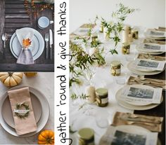 ‪#‎Thanksgiving‬ is right around the corner! Does anyone just adore creating fun tablescapes for their dinner guests? Here are some simple and elegant style we found. We would love to see YOUR thanksgiving table and place setting ideas too! Just post a pic and tag us in it!