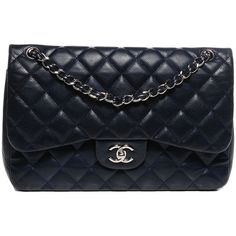 CHANEL Caviar Quilted Jumbo Double Flap Navy Blue ❤ liked on Polyvore featuring bags, handbags, shoulder bags, navy blue handbags, navy blue shoulder bag, quilted shoulder bag, navy blue purse and leather shoulder bag