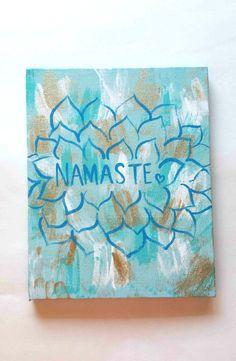 Bohemian zen namaste flower acrylic canvas painting by StarrJoy16