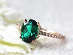 14k White Gold 6x8mm Oval  Emerald Engagement Ring Emerald Gold Ring Vintage Emerald Jewelry Engagement Wedding Ring, 2.800 kr.