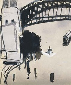 BRETT WHITELEY (1939-1992) SYDNEY HARBOUR BRIDGE Contemporary Australian Artists, Australian Painters, Contemporary Paintings, Urban Sketchers, Paintings I Love, Ink Painting, Western Art, White Art, Landscape Art