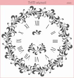 - 30 x 30 sm. Stencils by TATI stencil Hobby & Decor - товары для рукоделия Damask Wall Stencils, Wall Stencil Patterns, Stencil Templates, Wall Stenciling, Clock Craft, Clock Decor, Stencil Printing, Screen Printing, Scroll Saw Patterns
