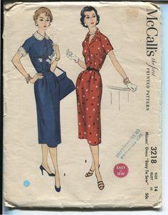 50s McCalls 3218 Pattern Wiggle Dress Bust 32 Size by retromonkeys, $11.00