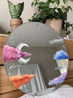 Hand Painted Cloud Mirror - Best Painting Ideas For Beginners Aesthetic Room Decor, Aesthetic Painting, Aesthetic Art, Aesthetic Women, Aesthetic Grunge, Aesthetic Vintage, Aesthetic Pictures, Aesthetic Clothes, Mirror Painting