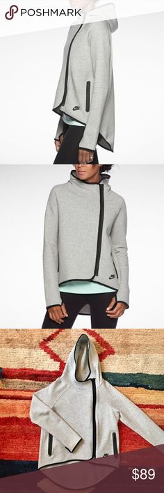 Nike Tech-Fleece cape hoodie Asymmetrical tech fleece by Nike - warm and stylish - size XS also fits a small and medium - has hood, large side pockets and thumb holes Nike Jackets & Coats Capes