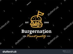 Burger nation the finest quality logo template with type of line art logo inspiration. Can use for corporate brand identity, burger shop, cafe, and restaurant Types Of Lines Art, Restaurant Ad, Logo Line, Great Logos, Art Logo, Logo Inspiration, Logo Templates, Brand Identity, Line Art