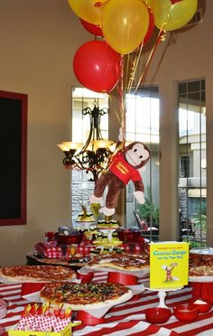 : Curious George birthday pizza buffet
