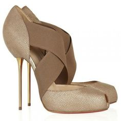 Christian Louboutin Big Dorcet 120 Textured Leather Pumps Red Bottom Shoes $165.00