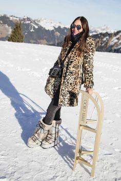 leopard coat winter outfit pictures apres ski | ski outfit-apres ski outfit-leopard print coat-snow boots-fur boots ...