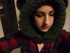 Crocheted hooded scarf with bear ears