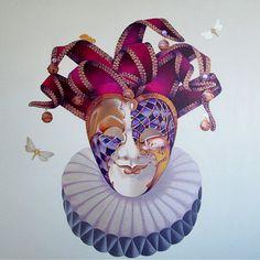 Venetian Mask and the Ghost Moth. Venetian Carnival Masks, Black Death, The Grim, Grim Reaper, Fascinator, Moth, Medieval, My Arts, Canvas