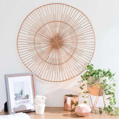 Copper details for the living room | SAMANA copper-coloured metal wall art | Maisons du Monde