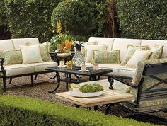 """Create a comfortable conversation area for guests to relax - arrange chairs in either a """"U"""" shape or facing eachother. Table in the middle for food and drinks makes entertaining easy!"""