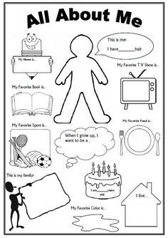 About Me Worksheet (First Day of School Activity) This is an awesome FREE worksheet as a 'getting to know you' activity on the first day of school.This is an awesome FREE worksheet as a 'getting to know you' activity on the first day of school. Get To Know You Activities, First Day Of School Activities, 1st Day Of School, Beginning Of School, High School, School School, All About Me Activities For Toddlers, All About Me Preschool Theme, School Stuff