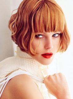 Gorgeous short red hair bob with bangs. I love the color. I might end up getting this cut, it's so cute!