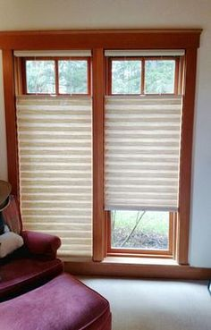 Bottom/Up Top/Down 2 inch pleated shades in a bamboo-look weave.