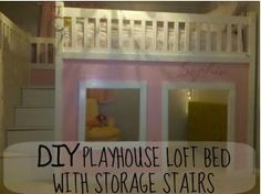 Playhouse Bed Plans - 12 Best Of Playhouse Bed Plans, Free Instructions Plans On How to Build A Loft Playhouse Bed Playhouse Loft Bed, Build A Loft Bed, Girls Playhouse, Loft Bed Plans, Build A Playhouse, Playhouse Ideas, Loft Bed Storage, Storage Stairs, Ideas Dormitorios