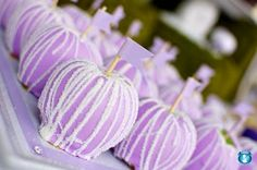 Purple caramel apples