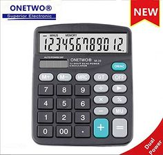 ONETWO Electronic Desktop Standard Function Calculator with 12-digit Large Display, Solar and AA Battery Dual Power desktop office financial calculator (Black)
