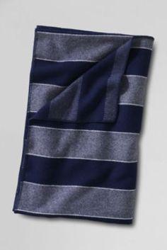 Pendleton Stripe Heather Wool Blanket from Lands' End in light umber stript (tan & lt. grey) sale 149 for king