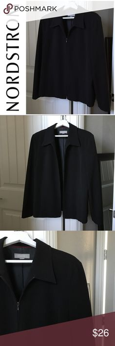 """Nordstrom Black Jacket Size XL Nordstrom Minimalist Fully Lined Black Zip-up Jacket Size XL. Excellent condition. Beautiful classic jacket that can be dressy or casual. Never will go out of style. Two words """"Closet Staple""""!!! 😉 Garment is missing size tag, almost 100% sure it is an XL...will take measurements if interested. Note: Model pictures meant for inspiration only. 😘❤️ Nordstrom Jackets & Coats"""