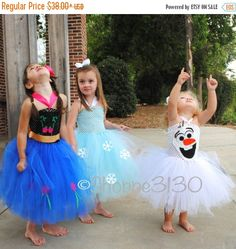 LABOR DAY SALE Anna Frozen Inspired Tutu Anna Elsa Olaf Inspired Tutu Costume Dress for Dress Up or Halloween or Birthday Dress by shoppe3130 on Etsy