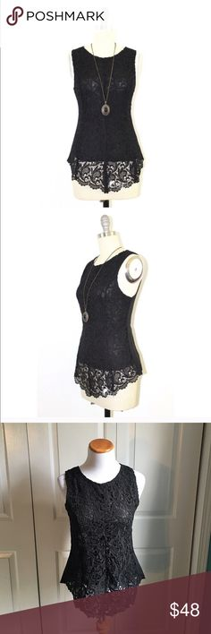 Black Lace Top Black crotchet Lace tank with zipper back. Very beautiful and detailed. Brand new with tags. boutique Tops