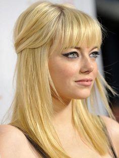 Great Hairstyles Half Up Half Down Medium Hair - Emma Stone