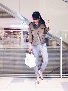 KATHARINE ROSS 難波店 | AYUMIさんのTシャツ/カットソー「KATHARINE ROSS 【KATHARINE ROSS】ボーダースパンロゴTシャツ」を使ったコーディネート