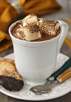 Toasted Marshmallow Hot Chocolate -- with toasted marshmallows melted directly into the chocolate! | From OhNuts.com Toasted Marshmallow Hot Chocolate Recipe, Chocolate Marshmallows, Hot Chocolate Recipes, Chocolate Chocolate, Yummy Drinks, Yummy Food, Chocolate Milkshake, It Goes On, Me Time