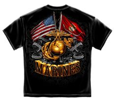MARINE CORPS BLACK T SHIRT USMC MARINES FLAG EAGLE SEMPER FIDELS MENS TEE S-3XL