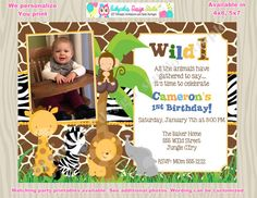 Wild One Birthday Invitation Invite Picture Photo Jungle Safari Invitations, Wild One Birthday Invitations, First Birthday Party Themes, 1st Boy Birthday, Safari Party, Jungle Safari, Animal Birthday, Time To Celebrate, Wild Ones