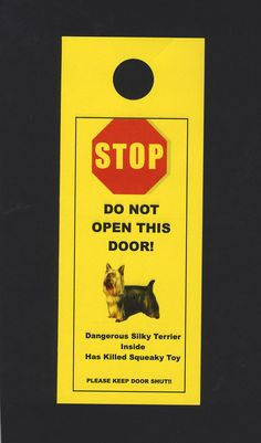 This sounds about right. Dangerous Silky Terrier Inside Has Killed Squeaky Toy by KnobNots, $5.00