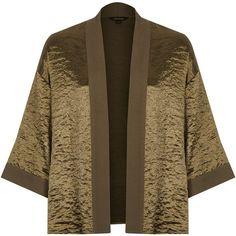 River Island Khaki cropped cape (3.420 RUB) ❤ liked on Polyvore featuring outerwear, jackets, khaki, kimonos, tops, women, cape coat, open front kimono, satin cape and brown cape