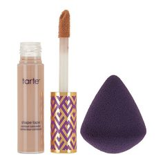 tarte shape tape contour concealer w/ sponge ($28) ❤ liked on Polyvore featuring beauty products, makeup, face makeup, concealer, tarte concealer, highlighting concealer and tarte