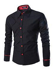 Masculino Camisa Social Trabalho Casual Tamanhos Grandes Simples Primavera Outono,Sólido Xadrez Algodão Poliéster Colarinho ClássicoManga