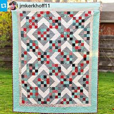 "Isnt this just gorgeous??? #Repost @jmkerkhoff11 ・・・ The #charityquilt is complete (prepare for overgramming)! It is winging it's way to the auction as I type this. I hope that it is well-loved and used. Approx. 65.5""x77"". Fabric is Feed Company by @sweetwaterfabric, which is perfect for the audience that this is going to. Pattern is Sunny Skies by Jenny Doan of the @missouriquiltco. Quilted by my friend @studiovquilting. #quilt #quilting #feedcompany #sweetwaterfabric @modafabrics…"